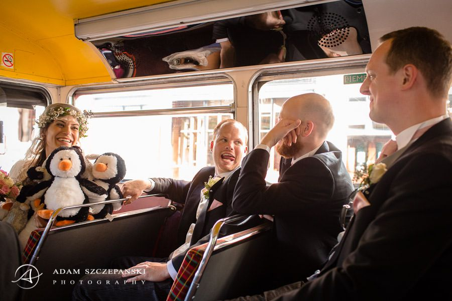 wedding guests in the bus