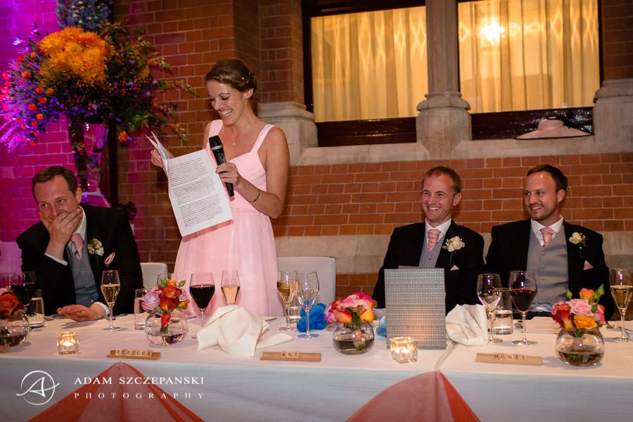woman making a wedding speech
