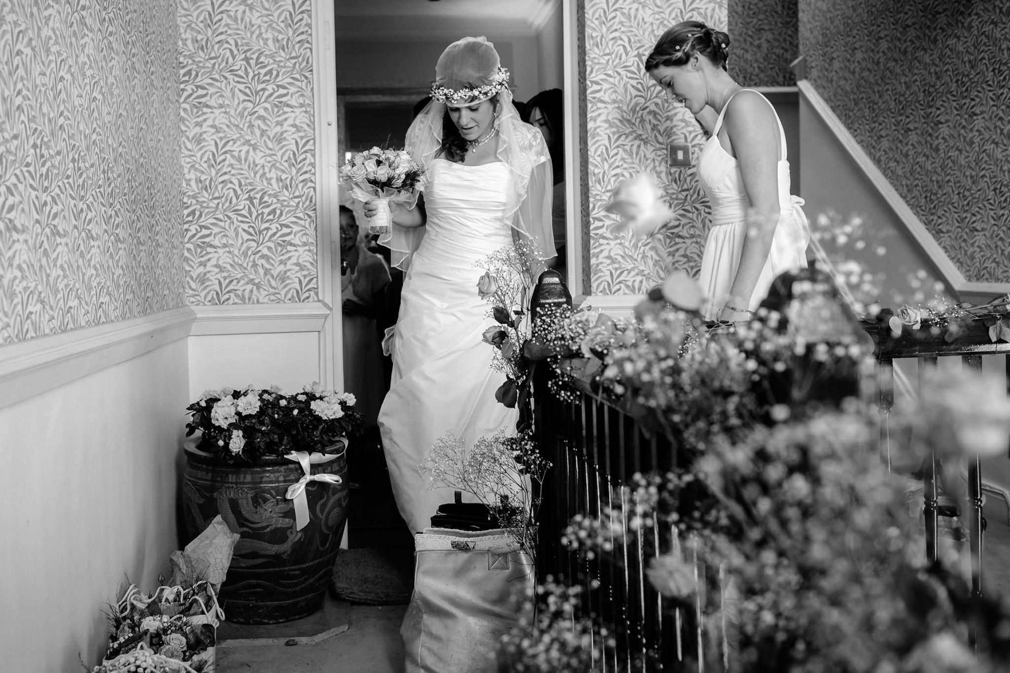 St. Pancras Renaissance hotel wedding bride and bridesmaids leaving home