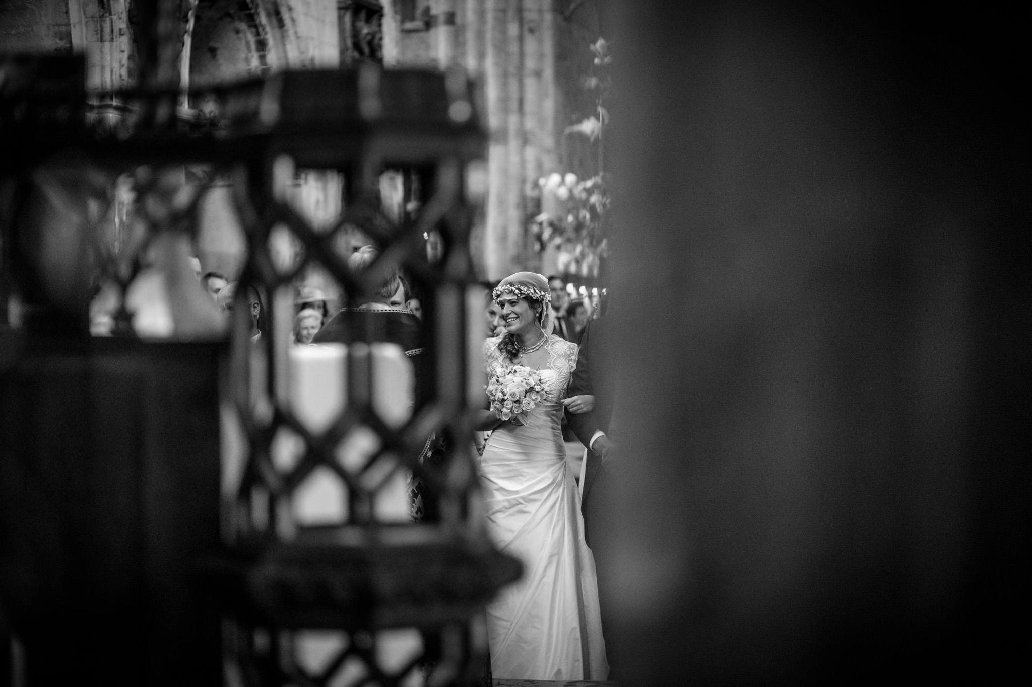St. Pancras Renaissance hotel wedding bride looks at the groom