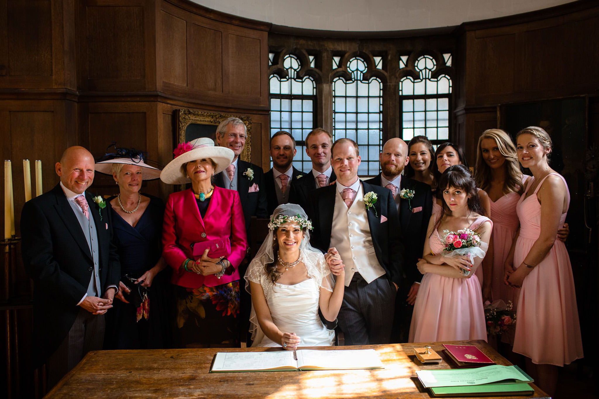 St. Pancras hotel wedding group photo in the chapel