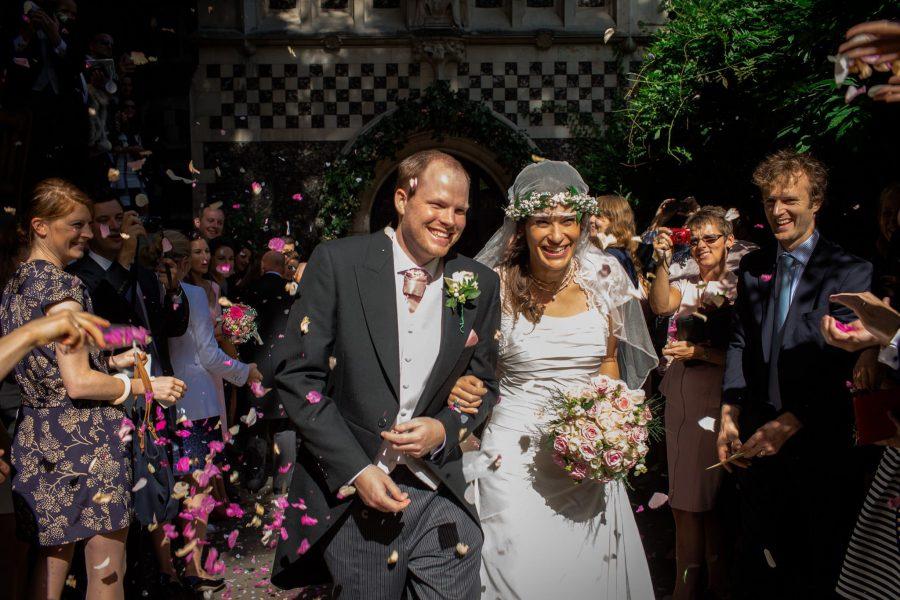 St. Pancras hotel wedding confetti shot