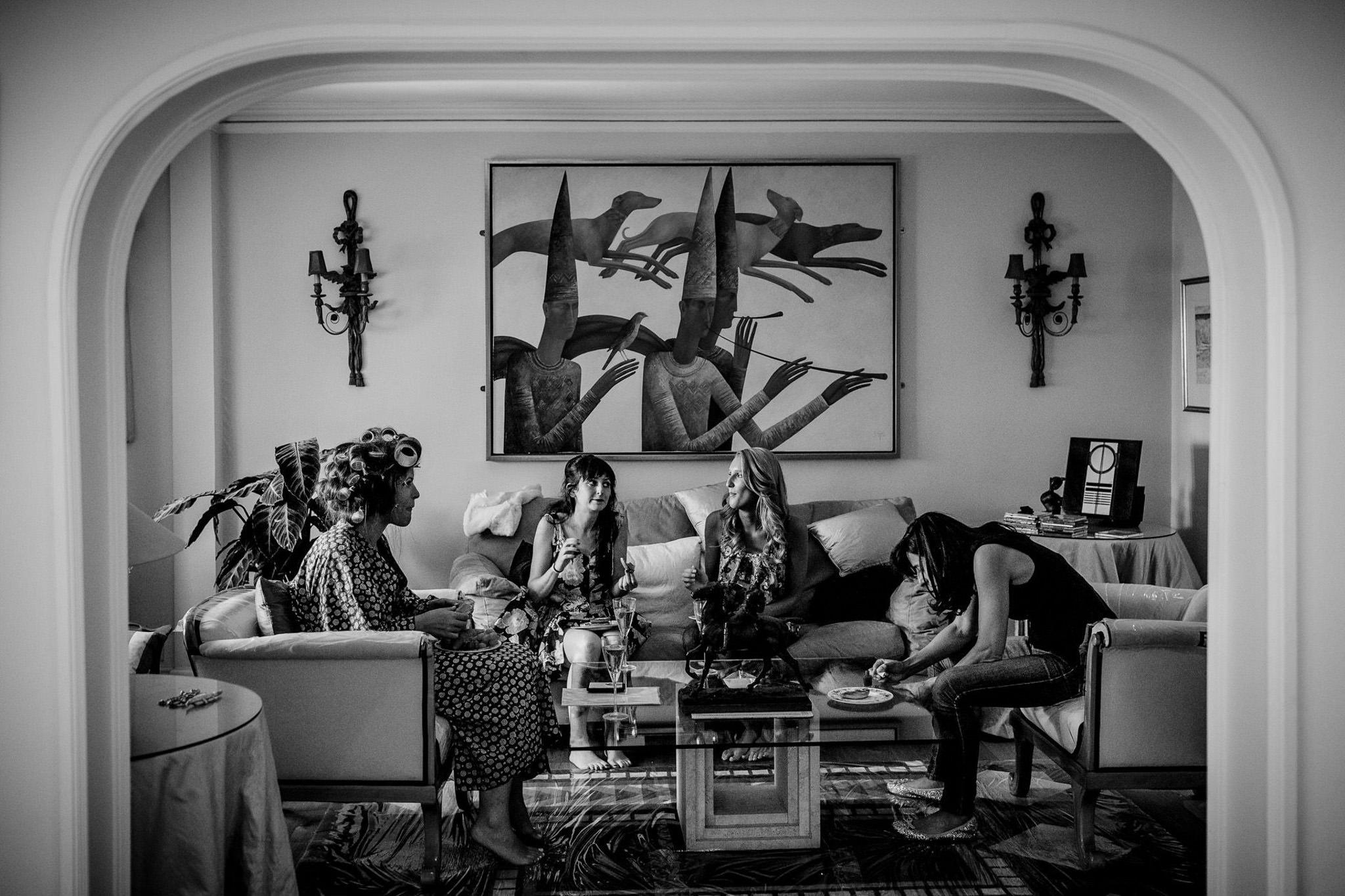 St. Pancras Renaissance hotel wedding bridesmaids having breakfast