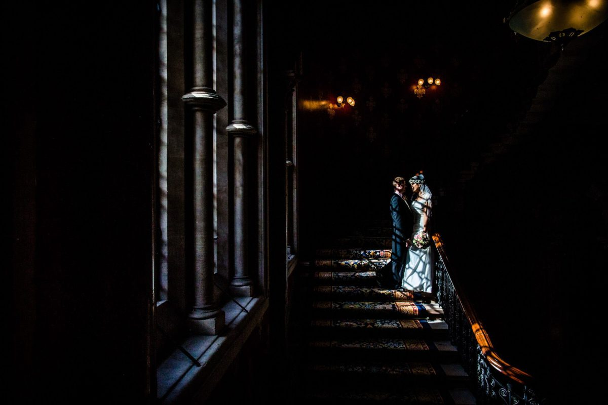 St. Pancras hotel wedding couple portrait