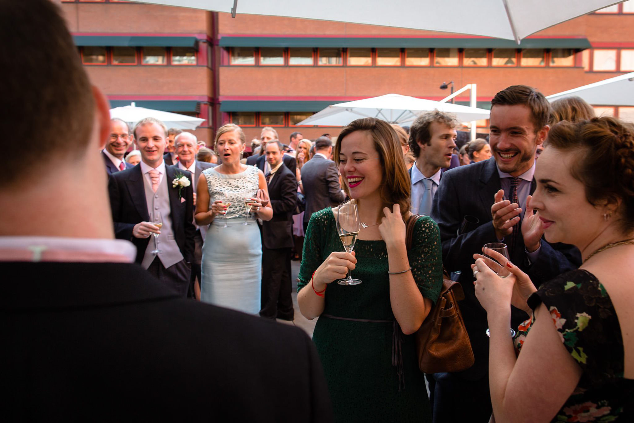 St. Pancras hotel wedding mingling