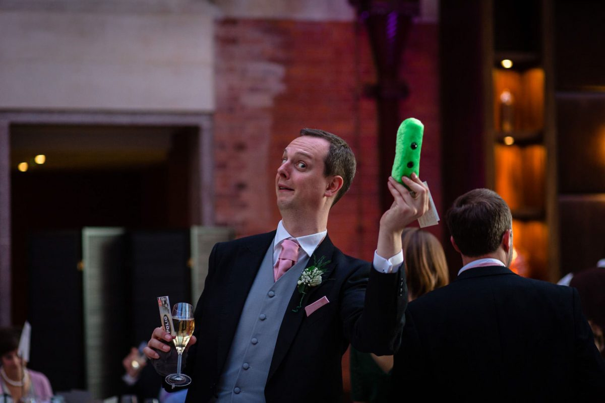St. Pancras hotel wedding guests having fun