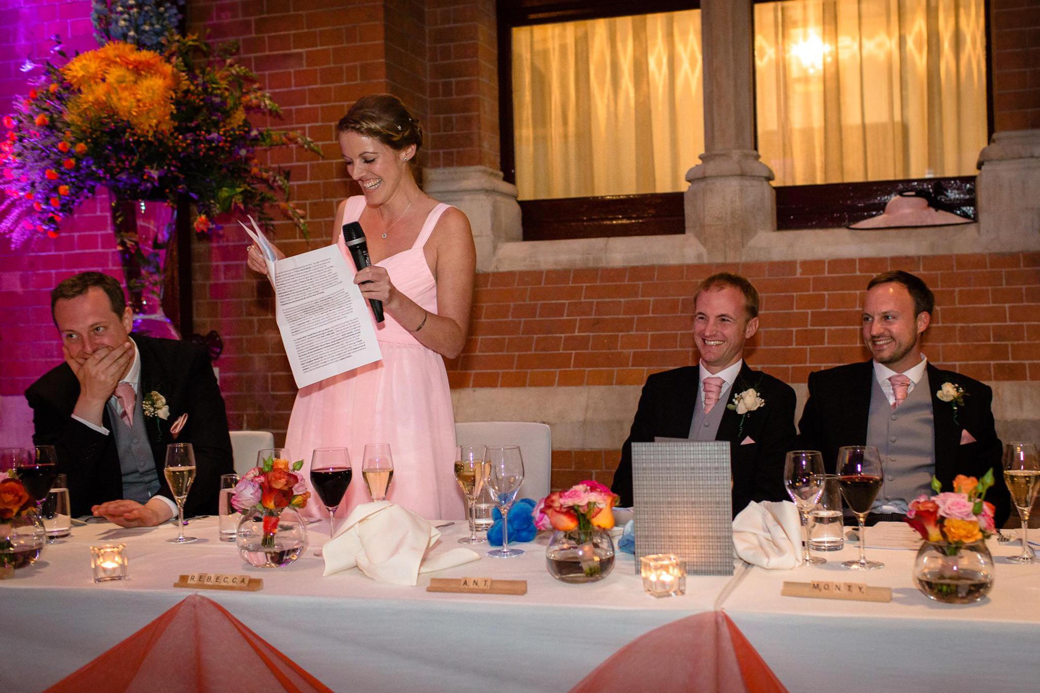St. Pancras hotel wedding bridesmaid speech