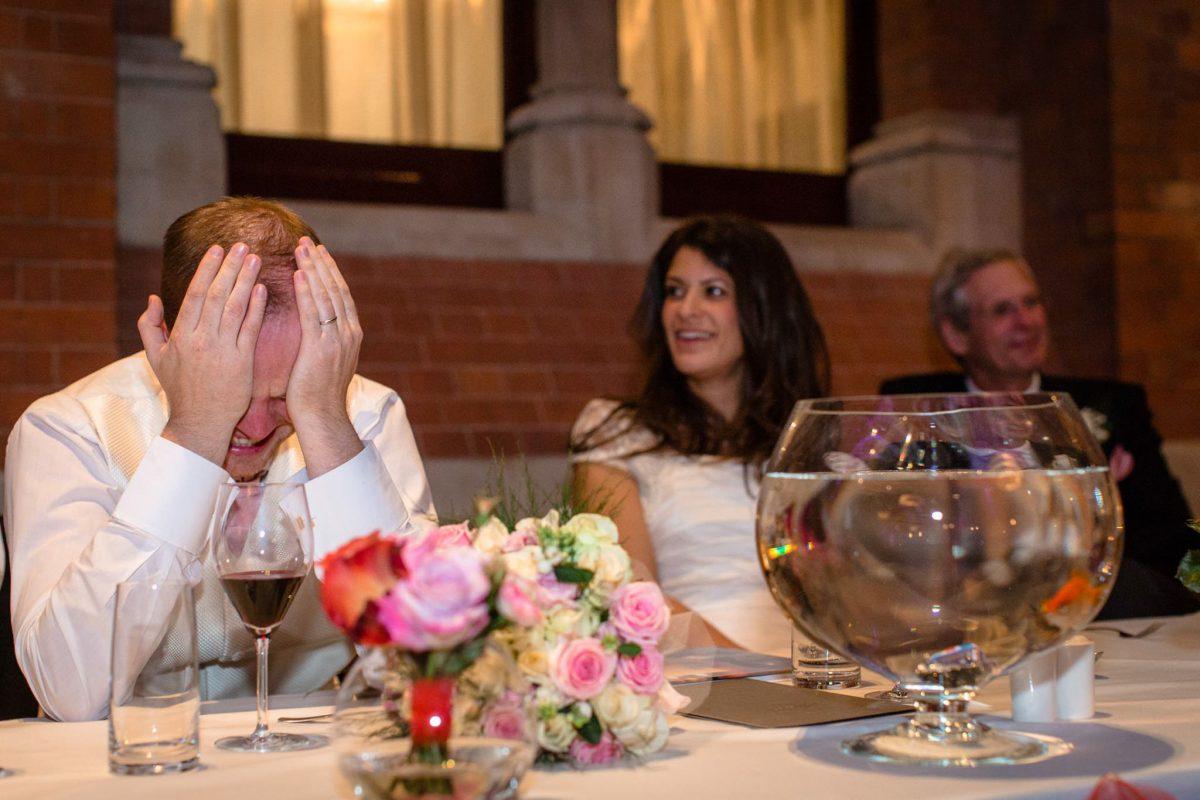 St. Pancras hotel wedding grooms reactin