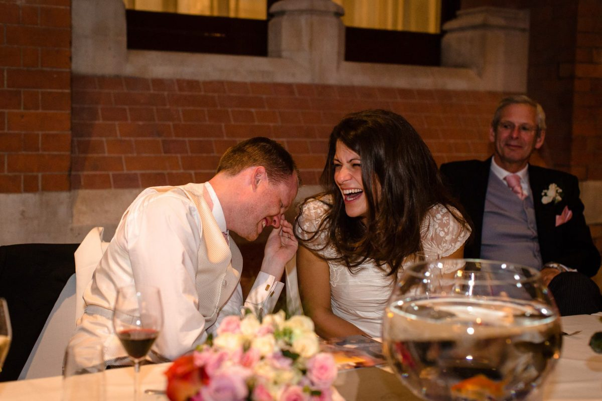 St. Pancras hotel wedding couple reaction