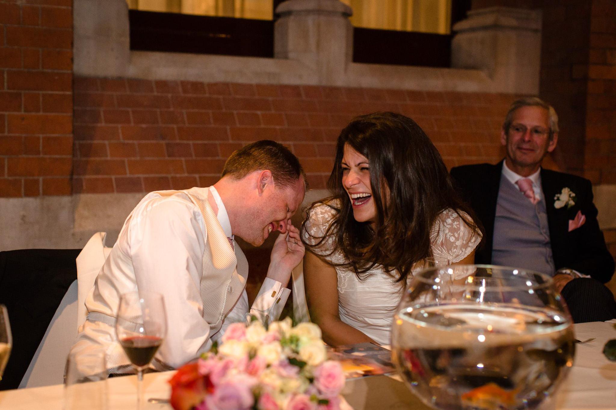 St. Pancras hotel wedding couple reaction