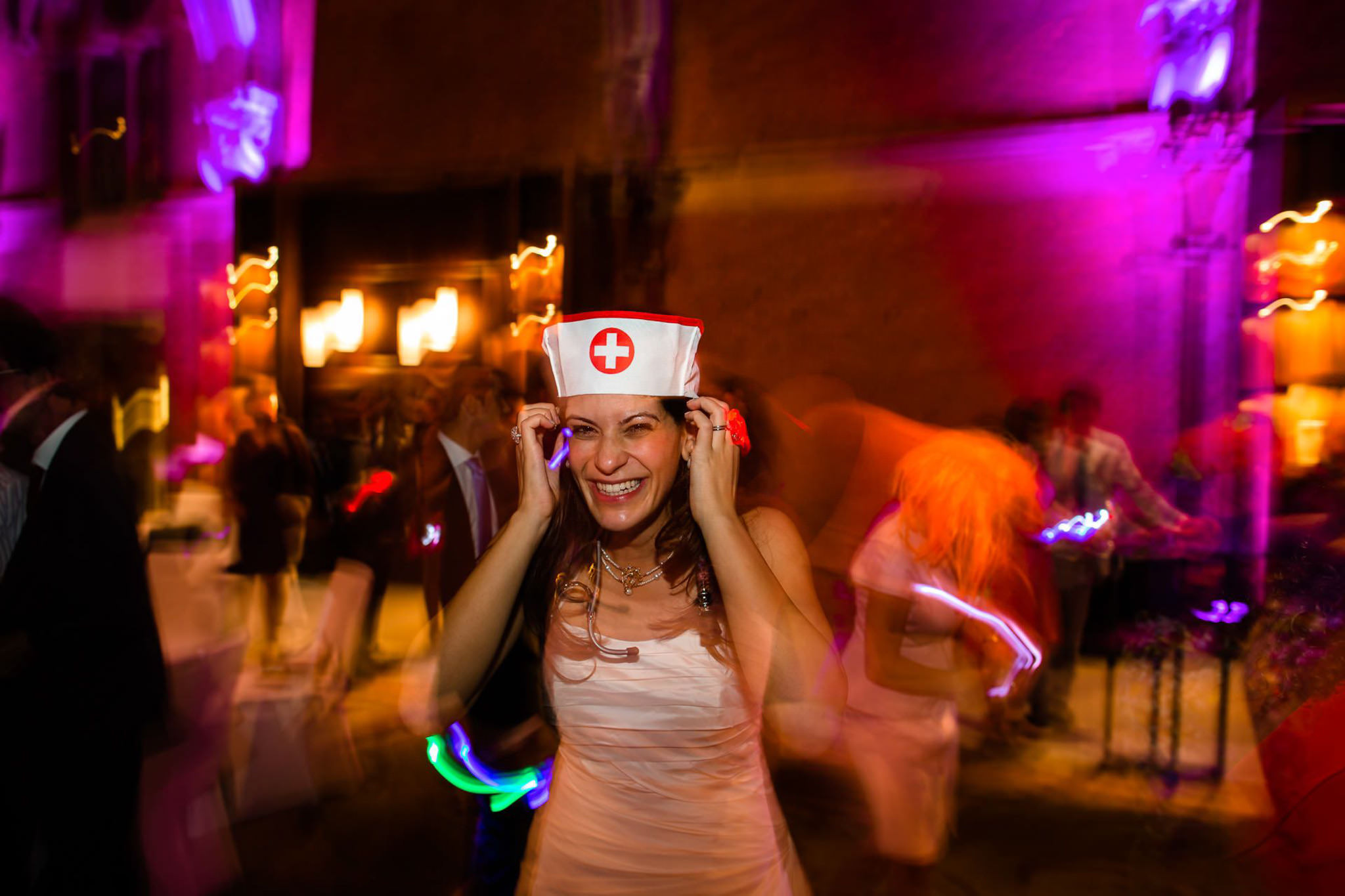 St. Pancras hotel wedding bride as a nurse