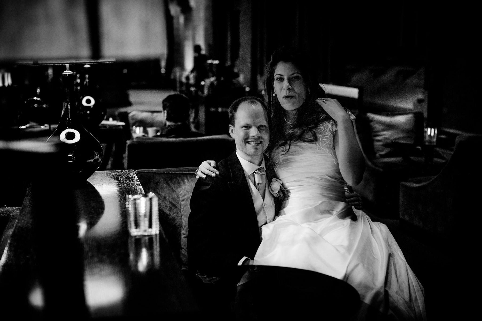 St. Pancras hotel wedding bride and groom posing