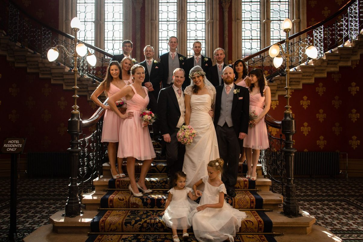 St. Pancras hotel wedding immediate family shot