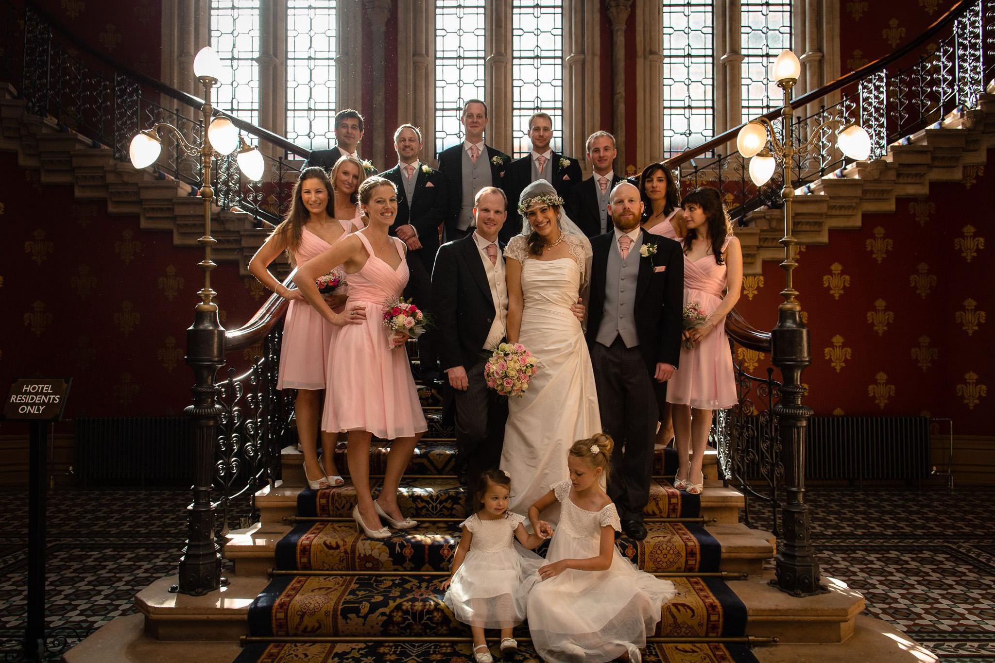 St. Pancras hotel wedding immediate family shot