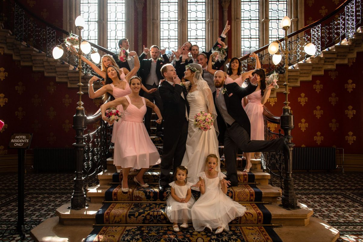 St. Pancras hotel wedding crazy group shot