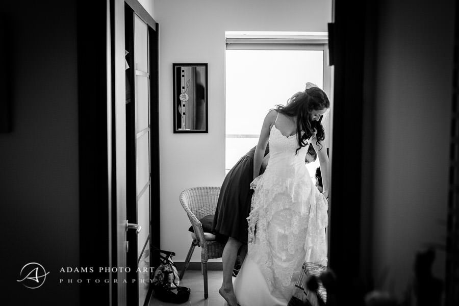 bride wears the dress