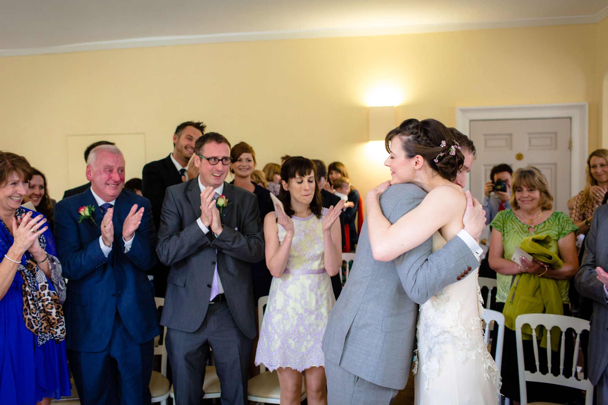 Clissold House wedding couple hugging