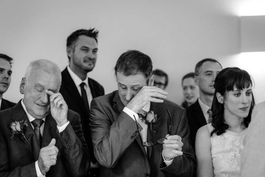 Clissold House wedding family men cry