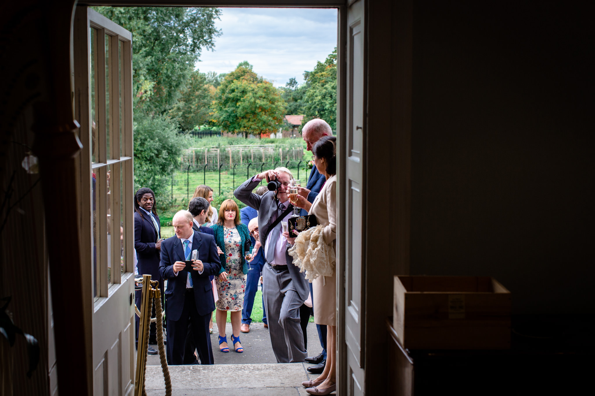 Clissold House wedding guests in front of the house
