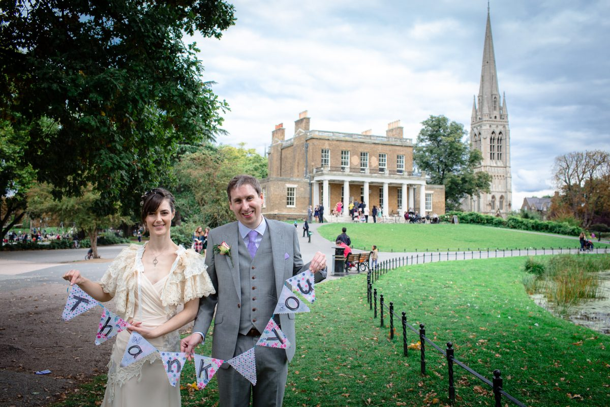Clissold House wedding couple in fornt of the house