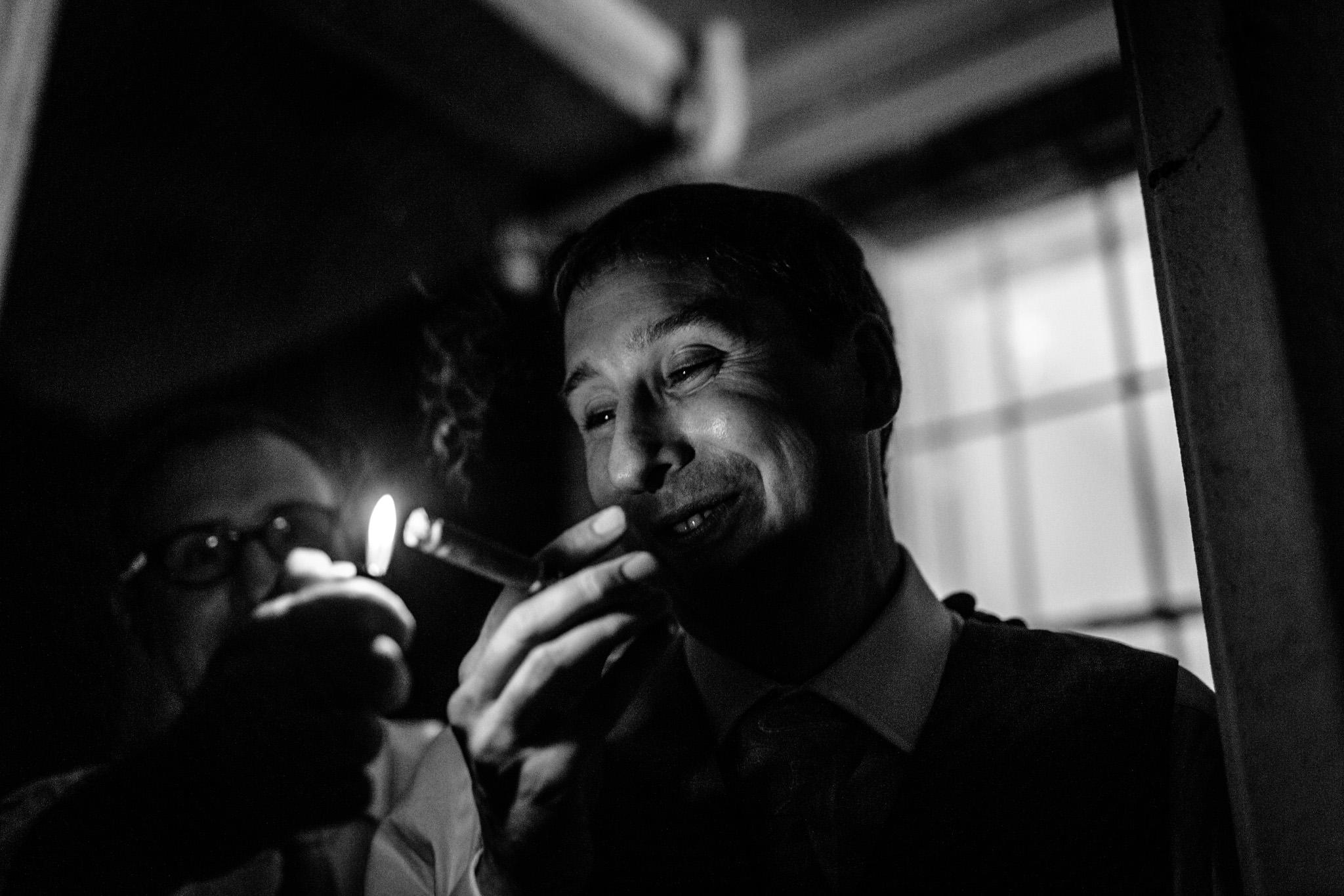 Clissold House wedding groom smoke cigar