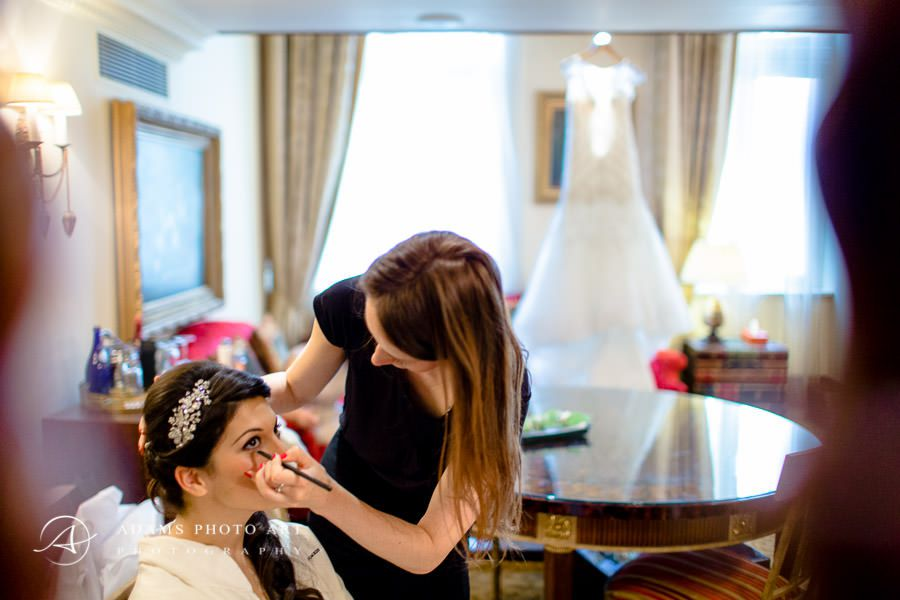 laura prepars make up for the wedding day