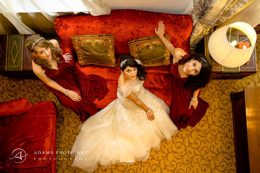 group wedding photo of the bride and her bridemaids top view