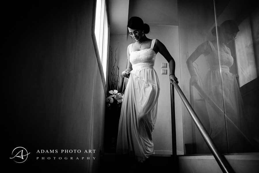 karen as a bride walking downstairs