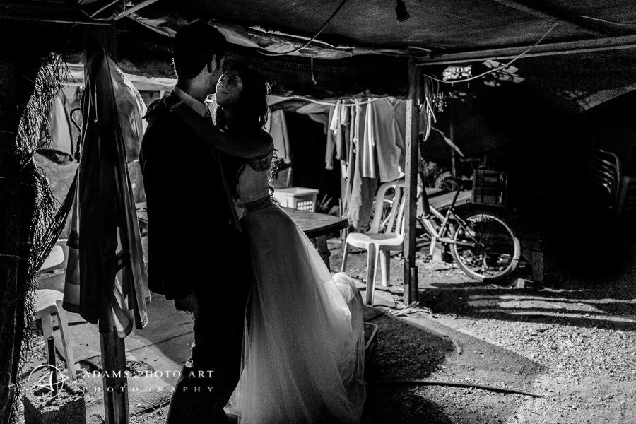 black and white wedding portrait of sharon and asaf