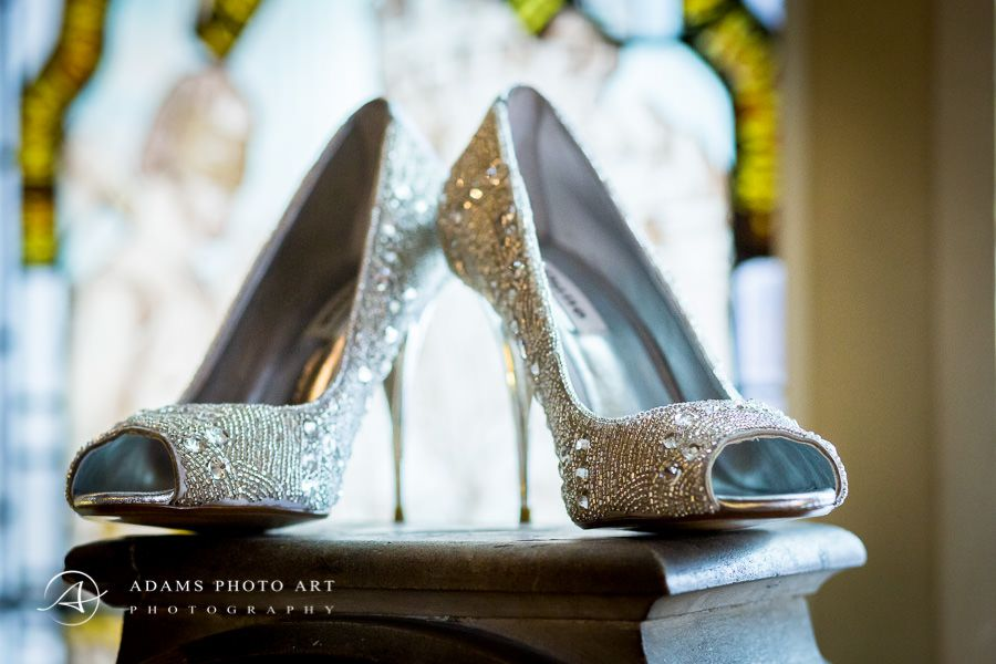 High-heeled wedding shoes