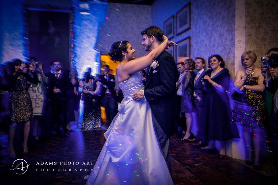 colorful photo of the first wedding dance of sam and roni