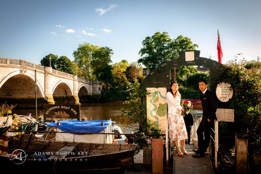 engaged couple photography by the river