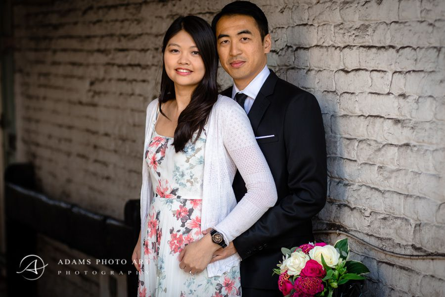 portrait of the engaged couple in richmond's street