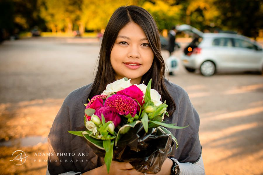 engaged women with flowers