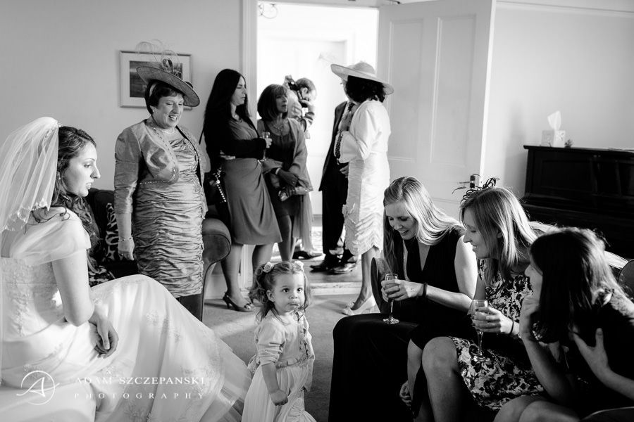 The family gathers at the bride's house before the ceremony