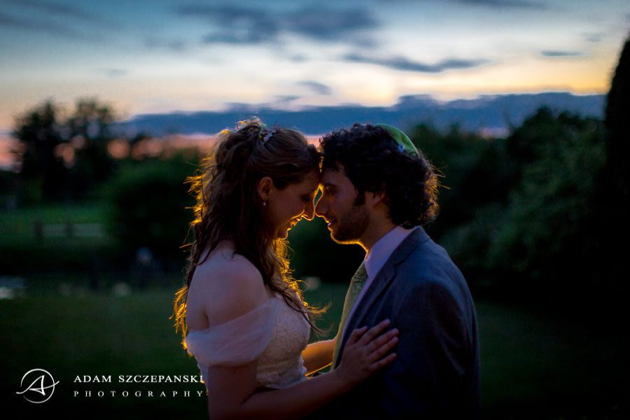 romantic and natural portrait of married couple