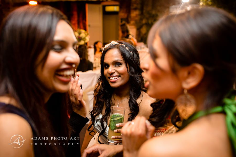 bride having fun with other women at the party