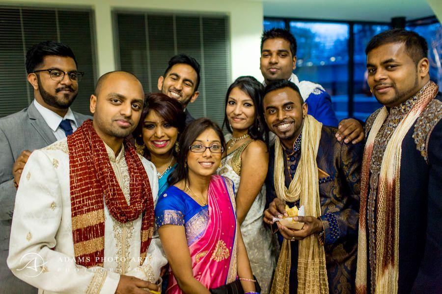 people posing to the wedding photo