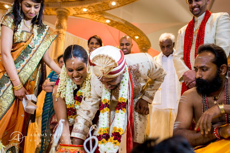 traditional young couple on the tamil wedding