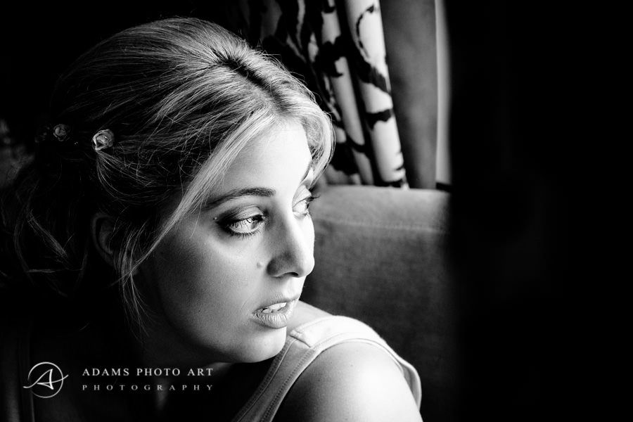 black and white natural portrait of bride lori