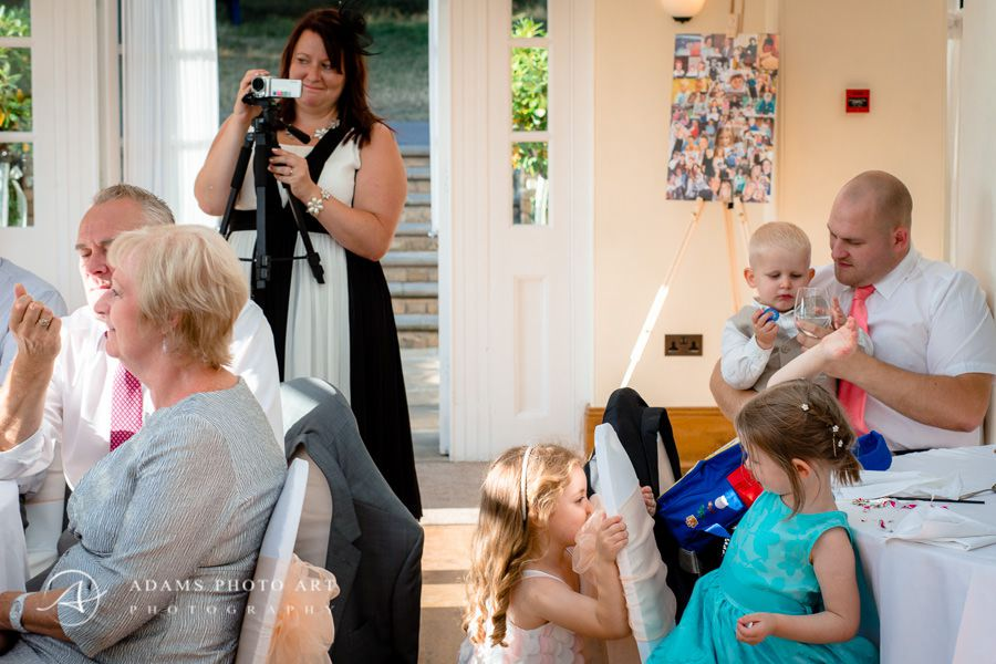 Woman is recording a wedding reception