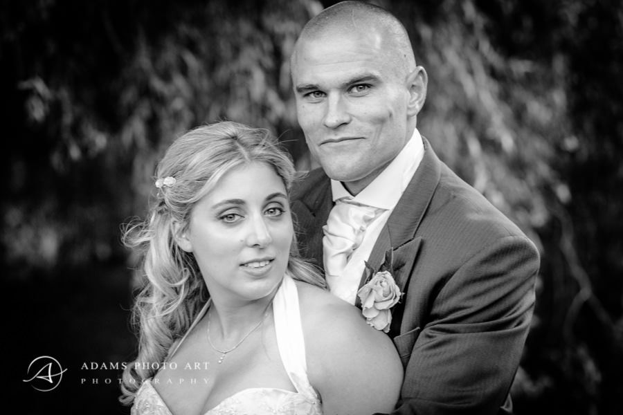 black and white wedding portrait of lori and james