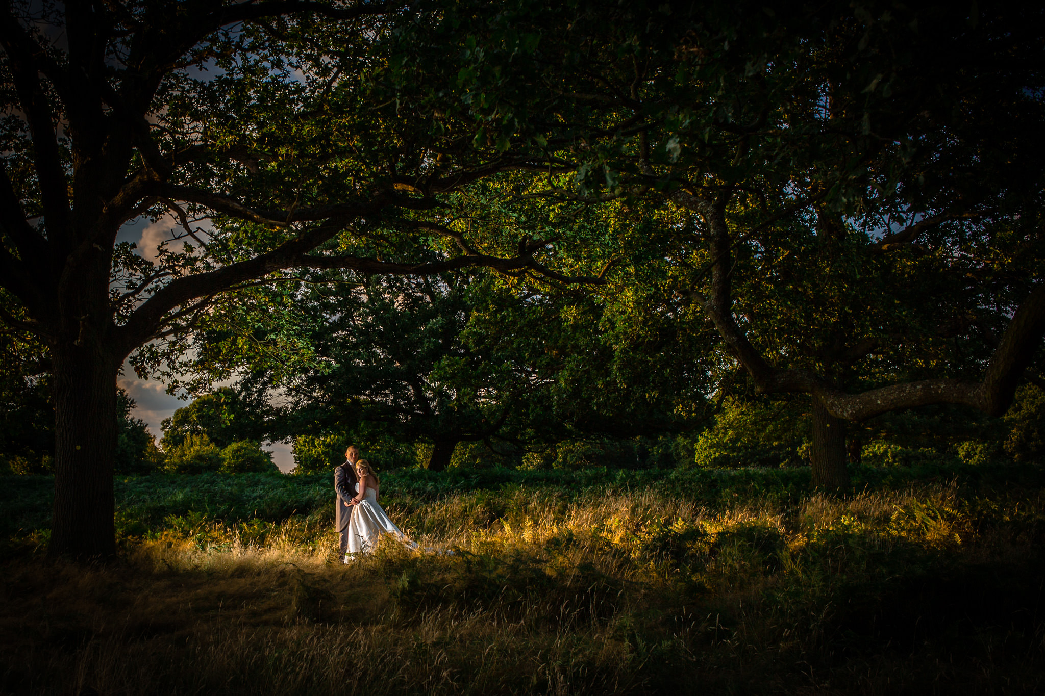 Pembroke Lodge wedding photographer romantic photo in the woods