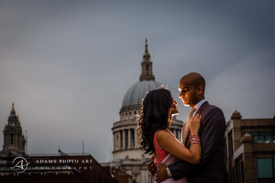 london engagement photo session of veena and kris