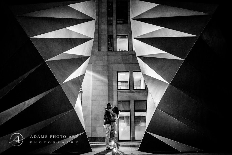 black and white london engagement photo