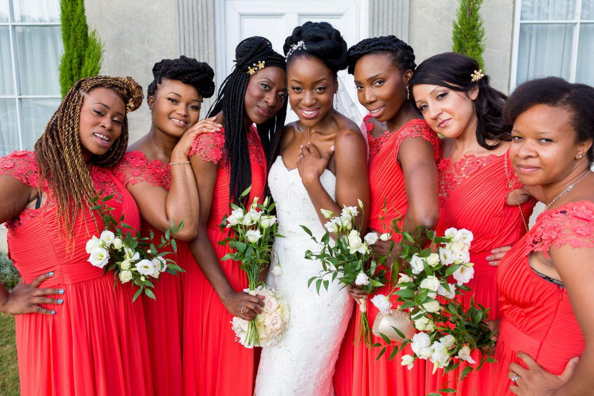 Addington Palace wedding bride and bridesmaids group photo