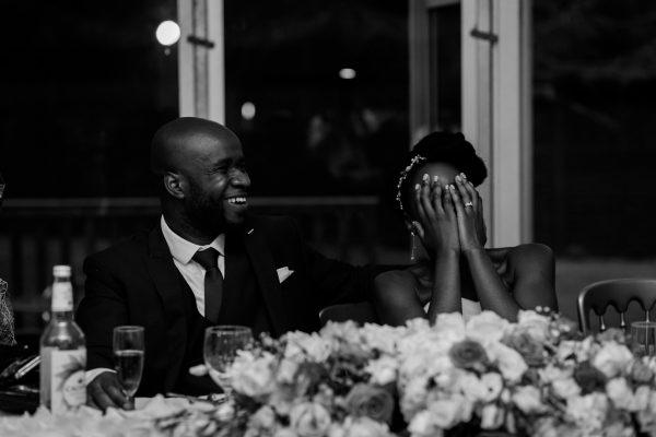 Addington Palace wedding bride reacts to speeches