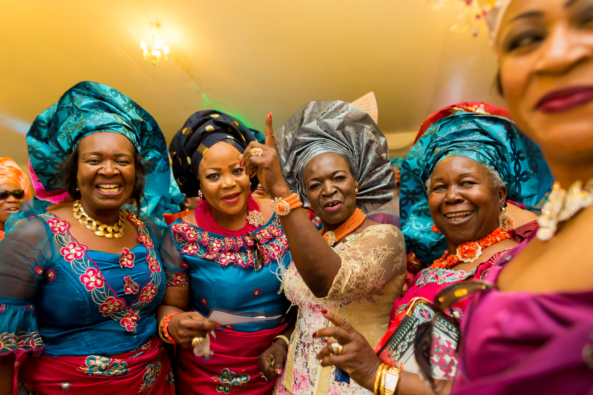 Addington Palace wedding nigerian woman dancing in their colourful dresses