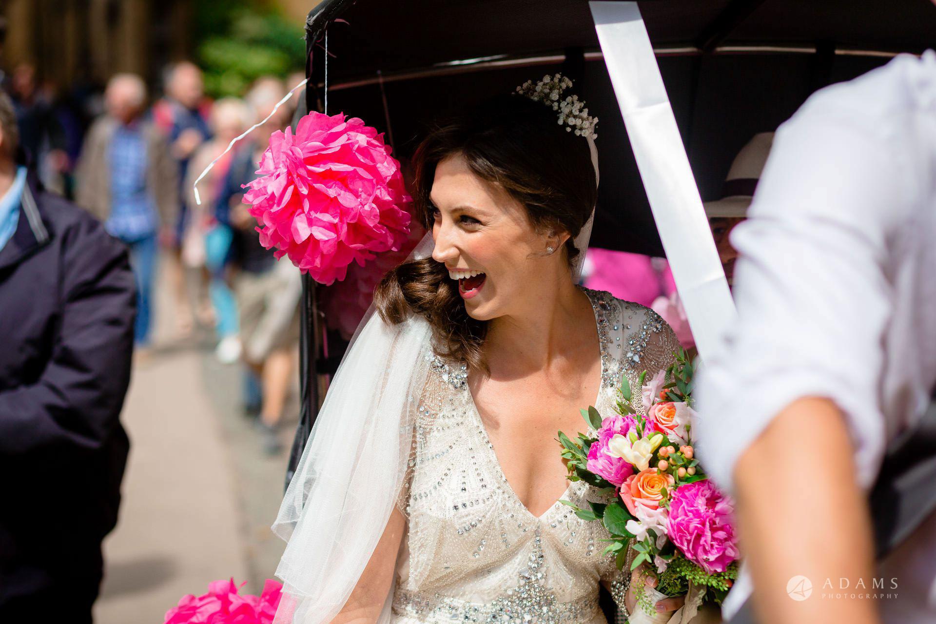 Clare College wedding bride arrives