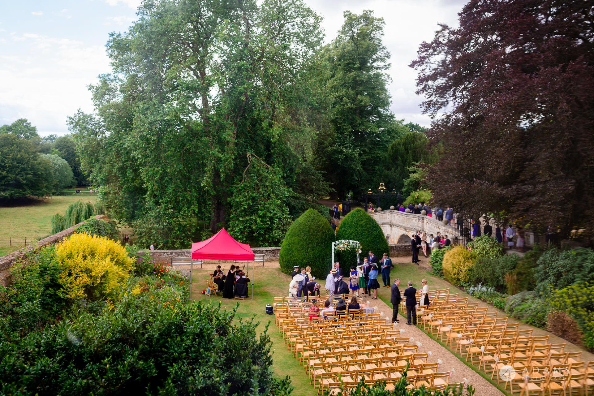 Clare College wedding view of the ceremony place by the river